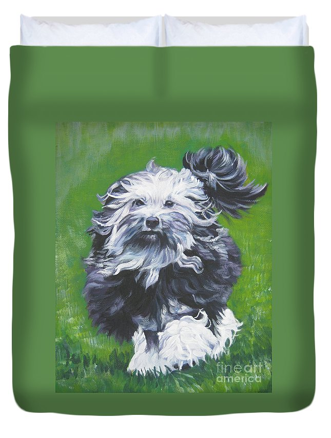 Lowchen Duvet Cover featuring the painting Lowchen by Lee Ann Shepard