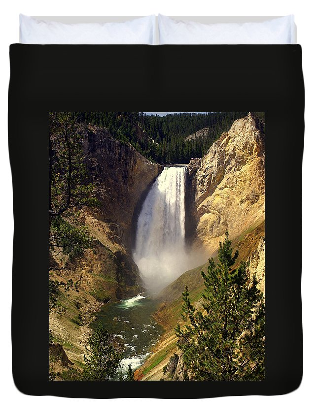Waterfall Duvet Cover featuring the photograph Lower Falls by Marty Koch