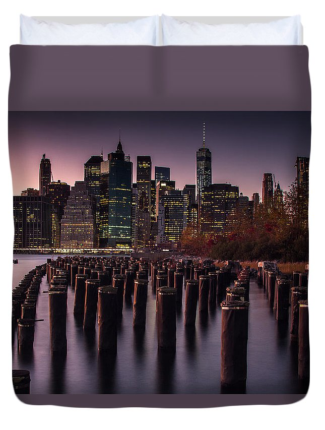 Nyc Duvet Cover featuring the photograph Lower Manhattan At Night by Steve Booke