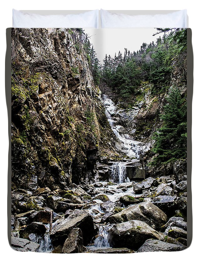Lower Reid Falls Duvet Cover featuring the photograph Lower Reid Falls by Alicia Goodrich