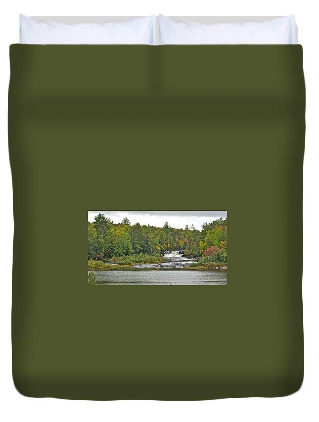 Tahquamenon Falls Duvet Cover featuring the photograph Lower Tahquamenon Falls 4 by Michael Peychich