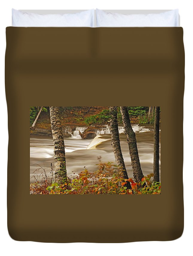 Tahquamenon Falls Duvet Cover featuring the photograph Lower Tahquamenon Falls 5 by Michael Peychich