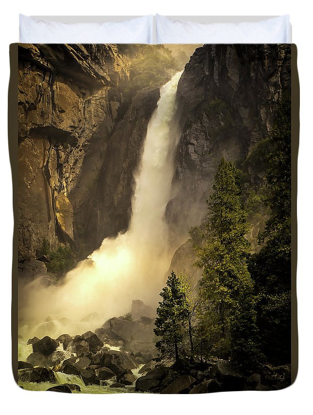Lower Yosemite Falls Duvet Cover featuring the photograph Lower Yosemite Falls by Doug Holck