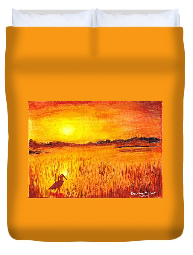 Loxahatchee Sunrise Duvet Cover featuring the painting Loxahatchee Sunrise by Donna Walsh