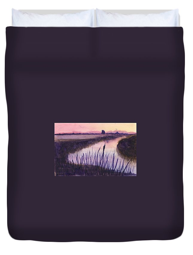 Everglades. Loxahatchee Duvet Cover featuring the painting Loxahatchee Sunset by Donna Walsh