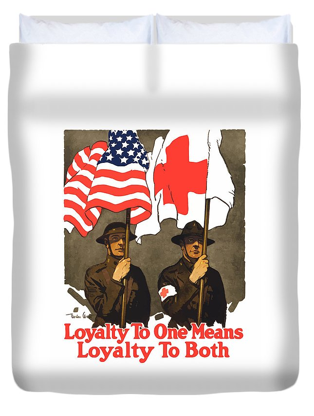 Red Cross Duvet Cover featuring the painting Loyalty To One Means Loyalty To Both by War Is Hell Store
