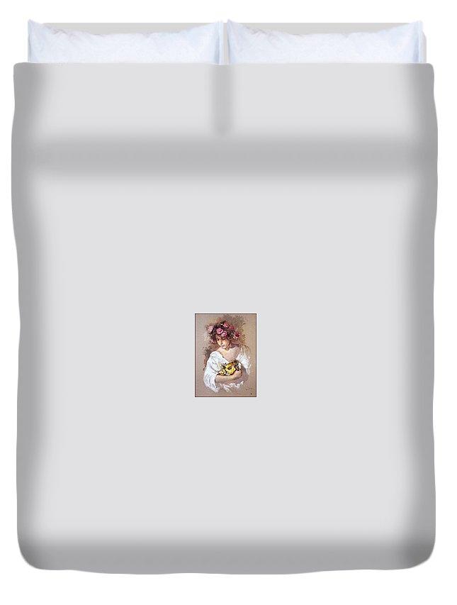 Portrait Duvet Cover featuring the digital art lrsCOL054Royo Carnaval Jose Royo by Eloisa Mannion