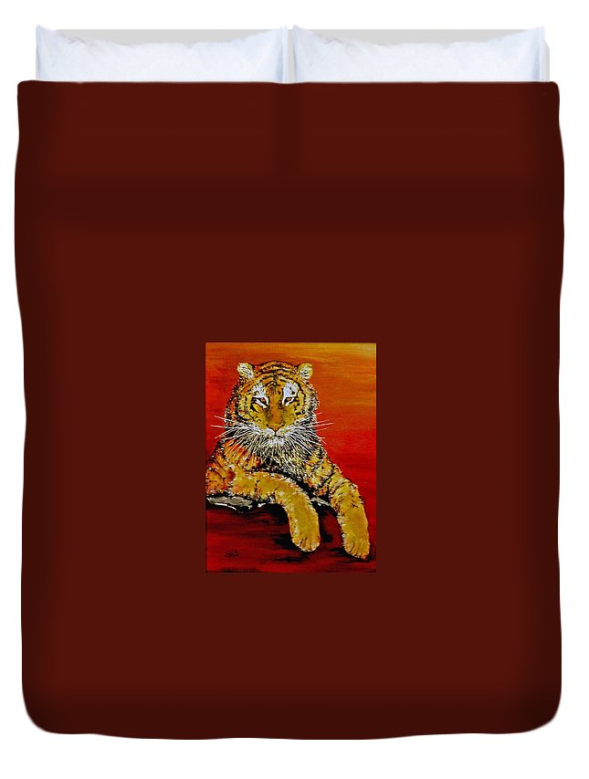 Tiger Duvet Cover featuring the painting Lsu Tiger by Stephen Broussard
