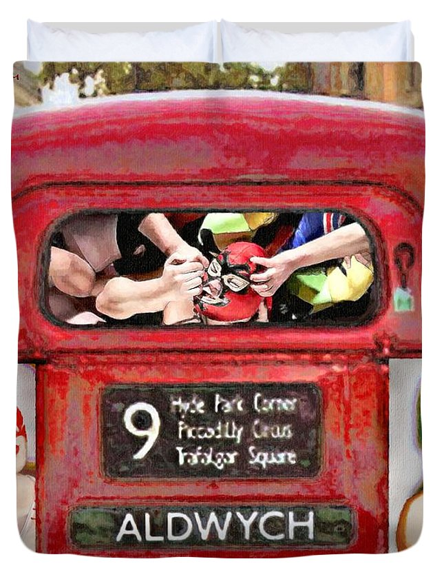 London Duvet Cover featuring the painting Lucha Bus London by Nancy Almazan