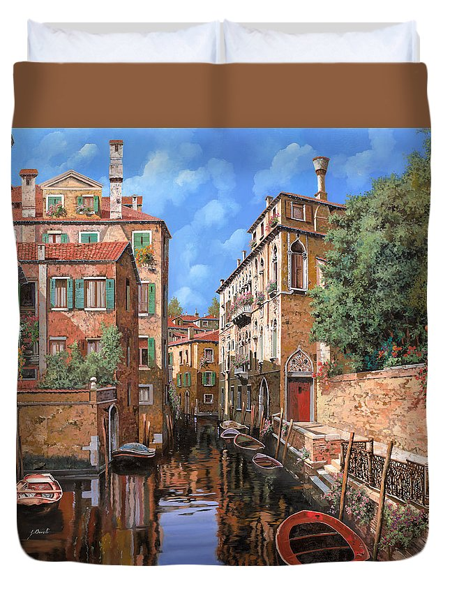 Venice Duvet Cover featuring the painting Luci A Venezia by Guido Borelli