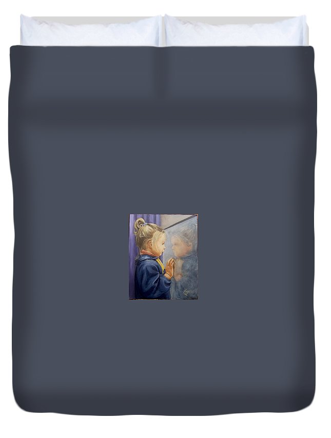 Girl Portrait  Reflectioj Window Child Kid Duvet Cover featuring the painting Luciana P. by Natalia Tejera
