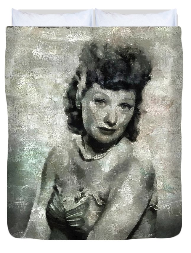 Hollywood Duvet Cover featuring the painting Lucille Ball Vintage Hollywood Actress by Mary Bassett