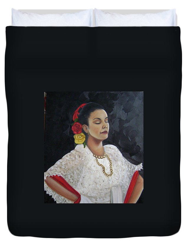 Duvet Cover featuring the painting Lucinda by Toni Berry