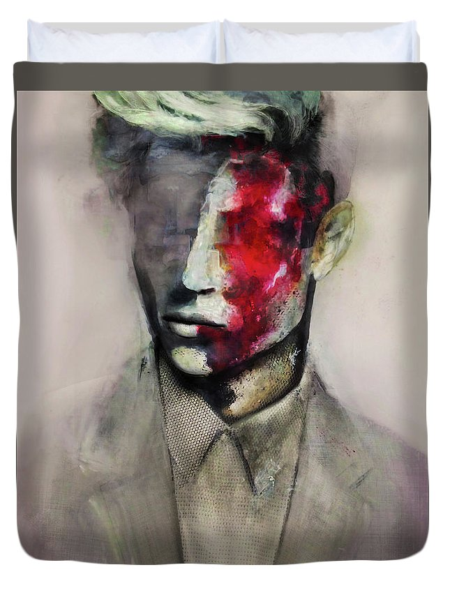 Abstract Surreal Portrait Painting Man Fashion Illustration Duvet Cover featuring the painting Lucky by Anna Madarasz