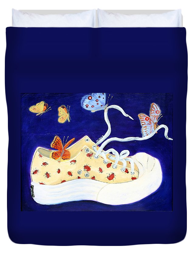 Running Shoes Duvet Cover featuring the painting Lucky Lady Bug Shoe by Minaz Jantz
