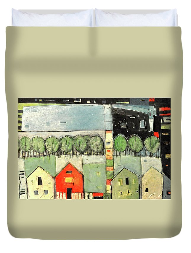 Abstract Duvet Cover featuring the painting Lucky Man by Tim Nyberg
