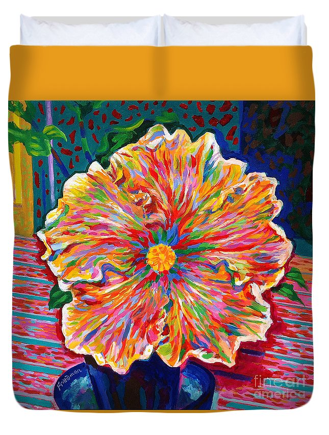 Flower Duvet Cover featuring the painting Lucky We Live Hibiscus by David Friedman