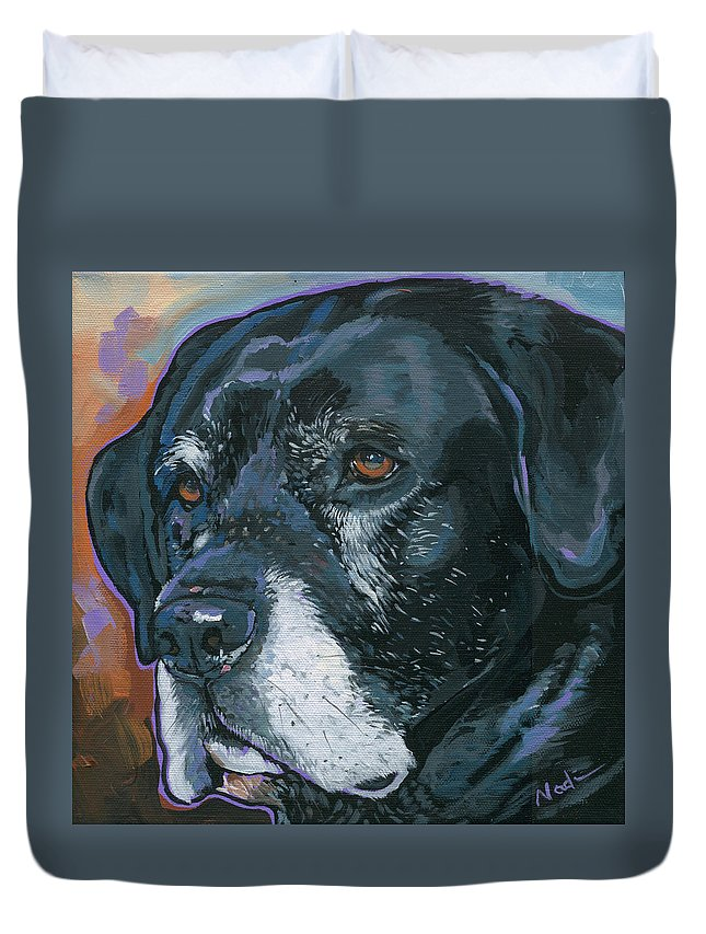 Labrador Retriever Duvet Cover featuring the painting Lucy by Nadi Spencer