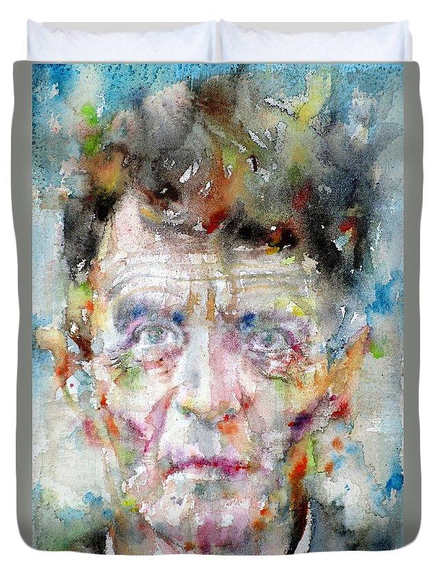 Wittgenstein Duvet Cover featuring the painting Ludwig Wittgenstein - Watercolor Portrait.2 by Fabrizio Cassetta
