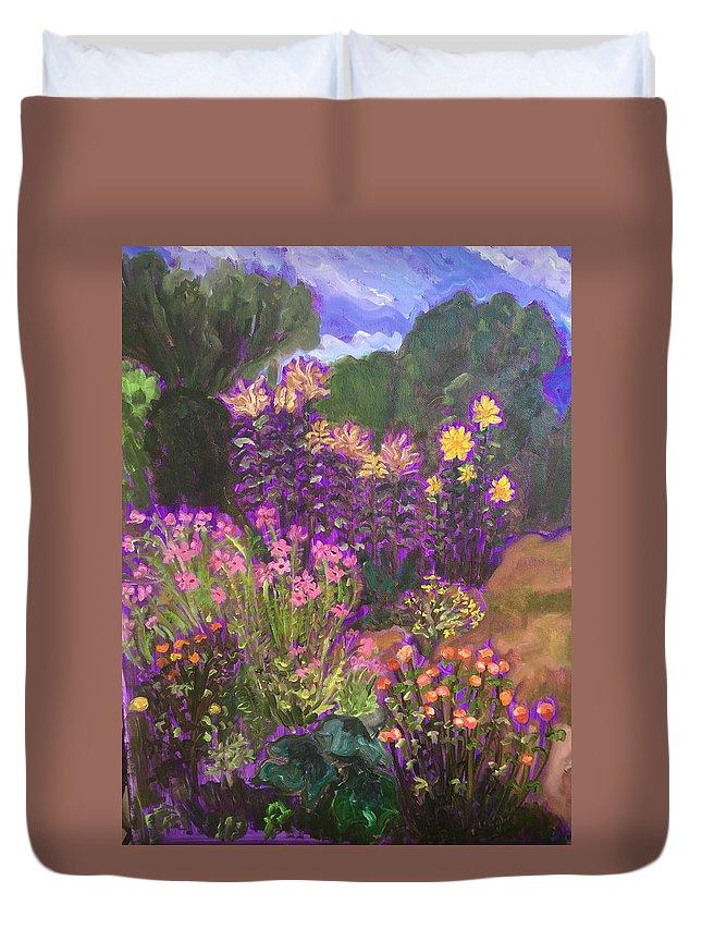 Landscape Duvet Cover featuring the painting Luhan Garden by Ruth Hansen