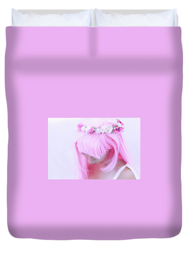 Pink Hair Flower Crown Queen Princess Pure Purity Feminine Female Duvet Cover featuring the photograph Luka Megurine by Karla Mercedes