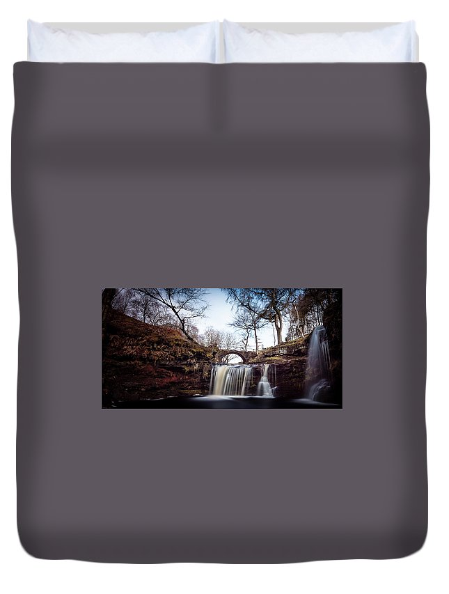 Calderdale Duvet Cover featuring the photograph Lumb Falls Panoramic by Gary Turner