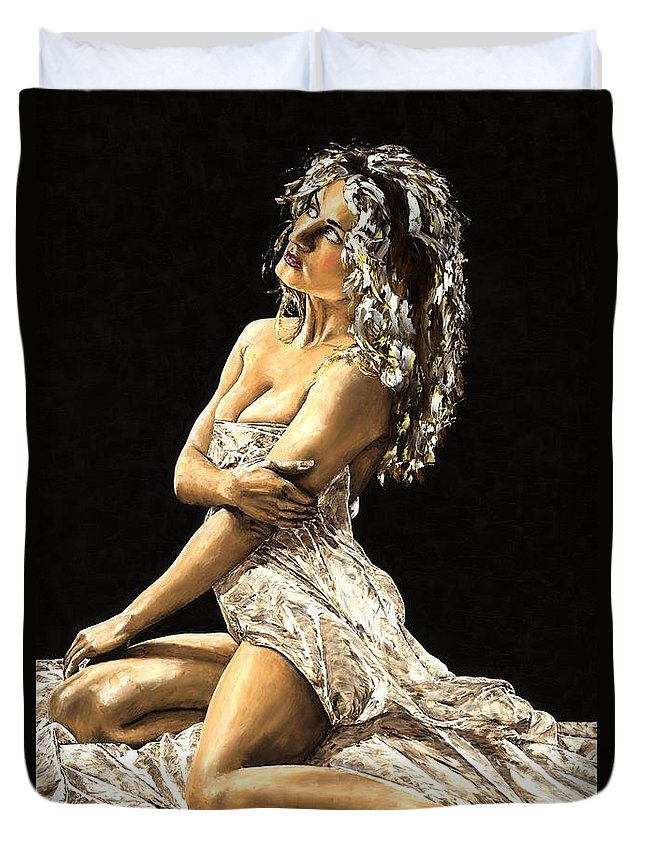 Nude Duvet Cover featuring the painting Luminous by Richard Young