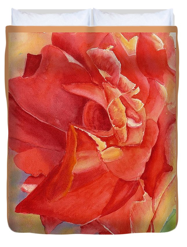 Painting Duvet Cover featuring the painting Luminous Rose by Mohamed Hirji