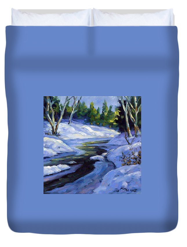 Art Duvet Cover featuring the painting Luminous Snow by Richard T Pranke