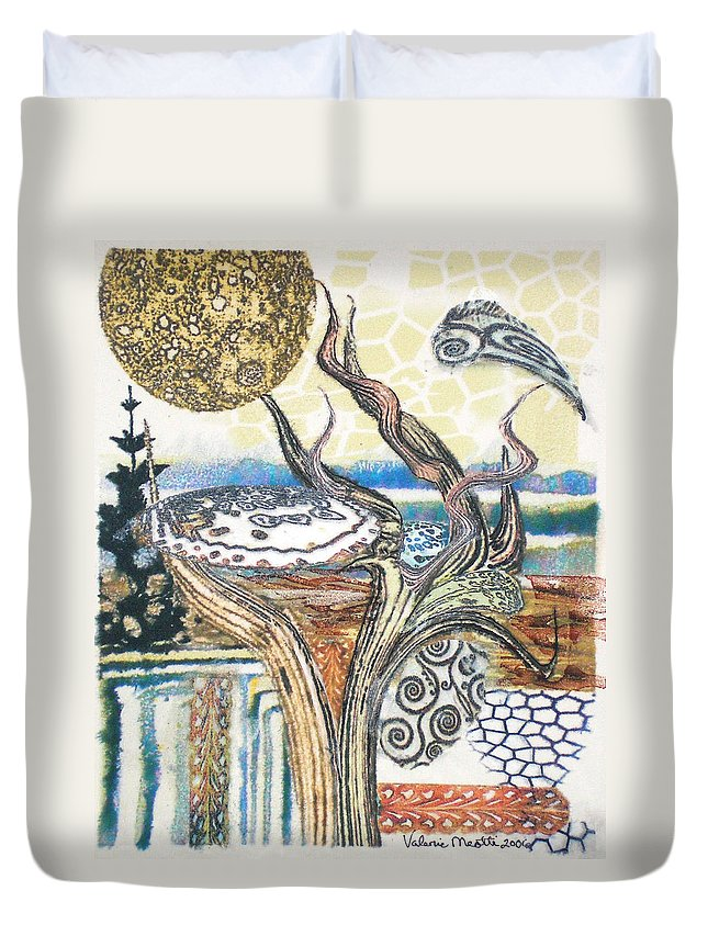 Abstract Duvet Cover featuring the painting Luna 2 by Valerie Meotti