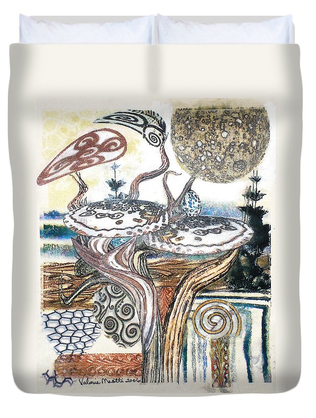Abstract Duvet Cover featuring the painting Luna 3 by Valerie Meotti