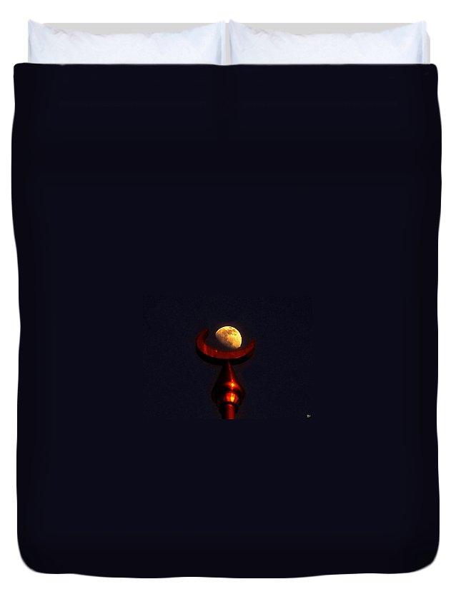Lunar Duvet Cover featuring the painting Lunar Minaret by David Lee Thompson