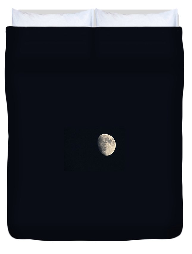 Moon Duvet Cover featuring the photograph Lunar Surface by Angela Rath