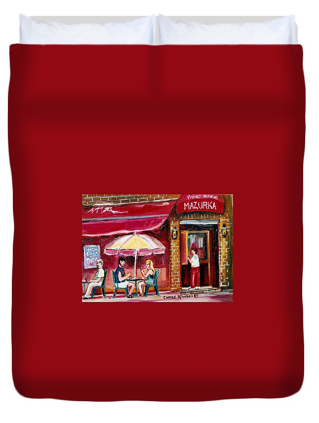 Mazurka Restaurant Duvet Cover featuring the painting Lunch At The Mazurka by Carole Spandau