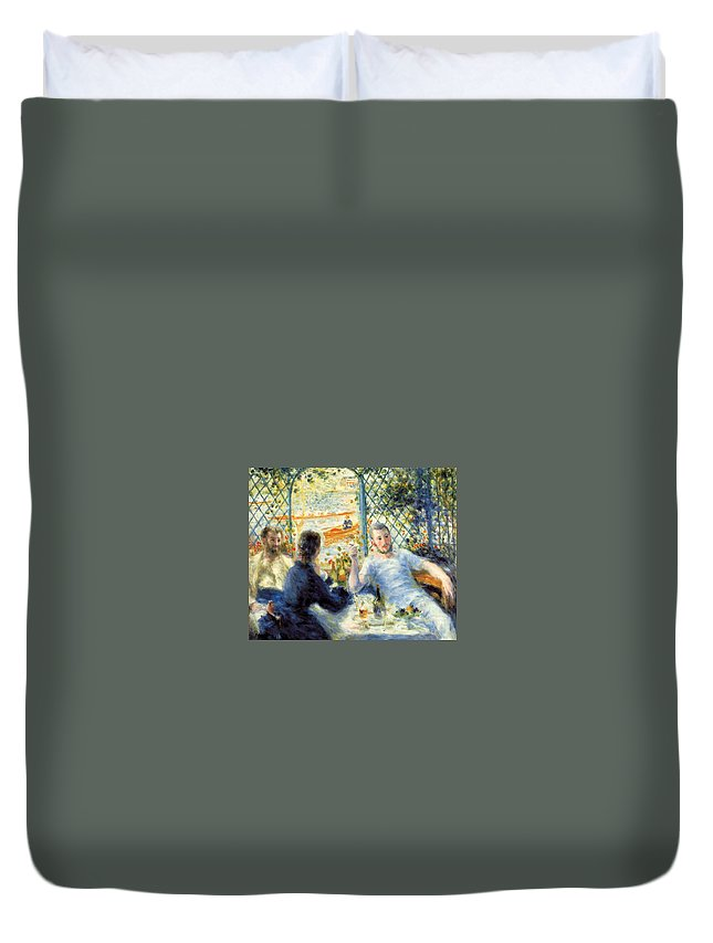 Boating Duvet Cover featuring the painting Lunch At The Restaurant Fournaise, The Rower's Lunch by Pierre-Auguste Renoir