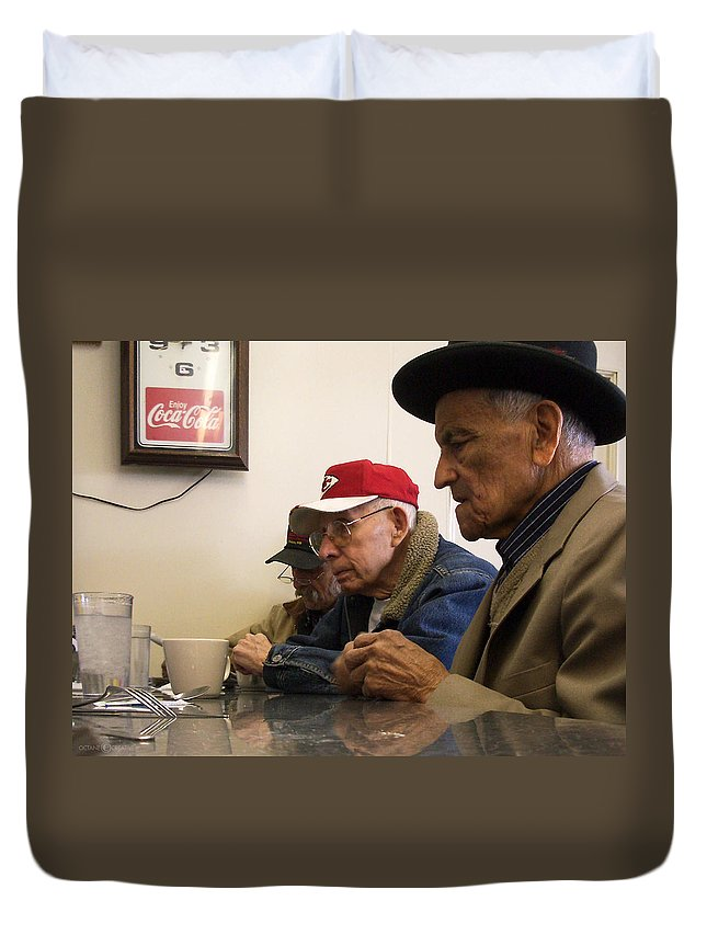 Diner Duvet Cover featuring the photograph Lunch Counter Boys by Tim Nyberg
