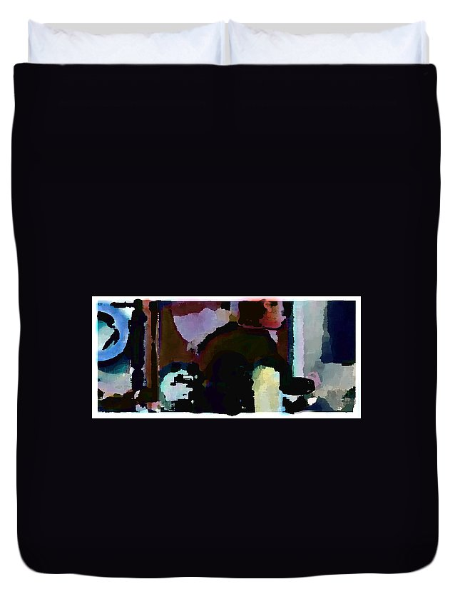 Abstract Expressionism Duvet Cover featuring the painting Lunch counter by Steve Karol