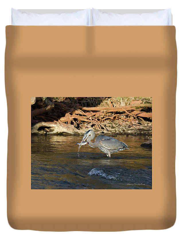 Heron Duvet Cover featuring the photograph Lunch On The Neuse River by George Randy Bass