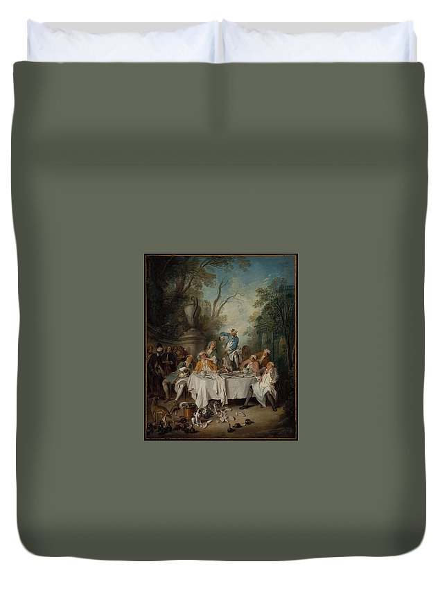 Luncheon Party In A Park Le D�jeuner De Jambon About 1735 Nicolas Lancret (french Duvet Cover featuring the painting Luncheon Party In A Park by MotionAge Designs