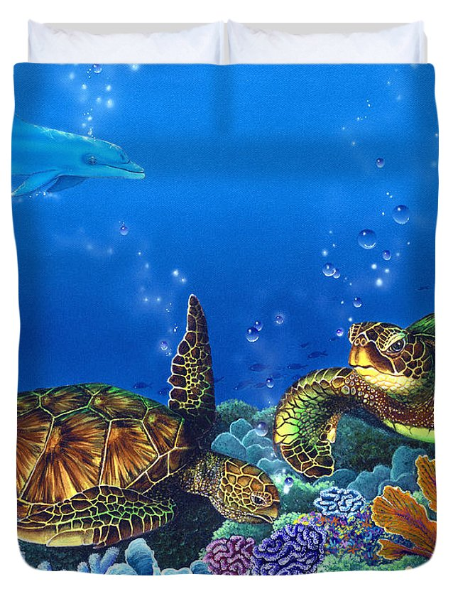 Turtles Duvet Cover featuring the painting Lunchtime by Angie Hamlin
