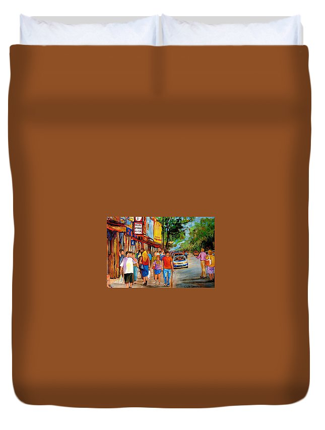 Montreal Streetscenes Duvet Cover featuring the painting Lunchtime On Mainstreet by Carole Spandau