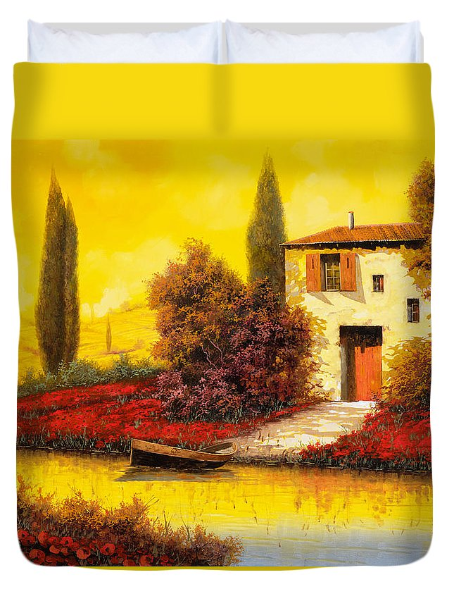 Landscape Duvet Cover featuring the painting Lungo Il Fiume Tra I Papaveri by Guido Borelli