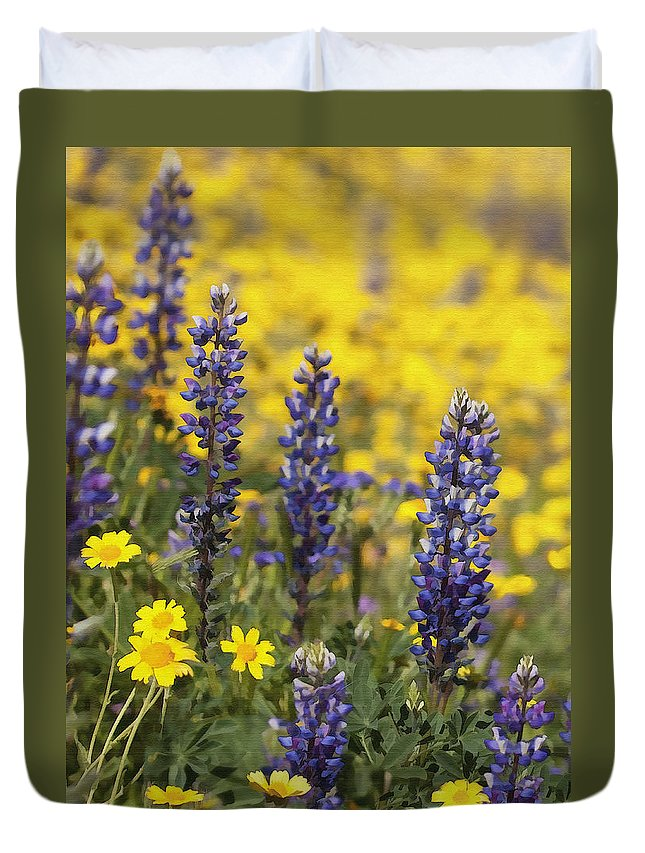 Lupin Duvet Cover featuring the digital art Lupin And Daisies by Sharon Foster
