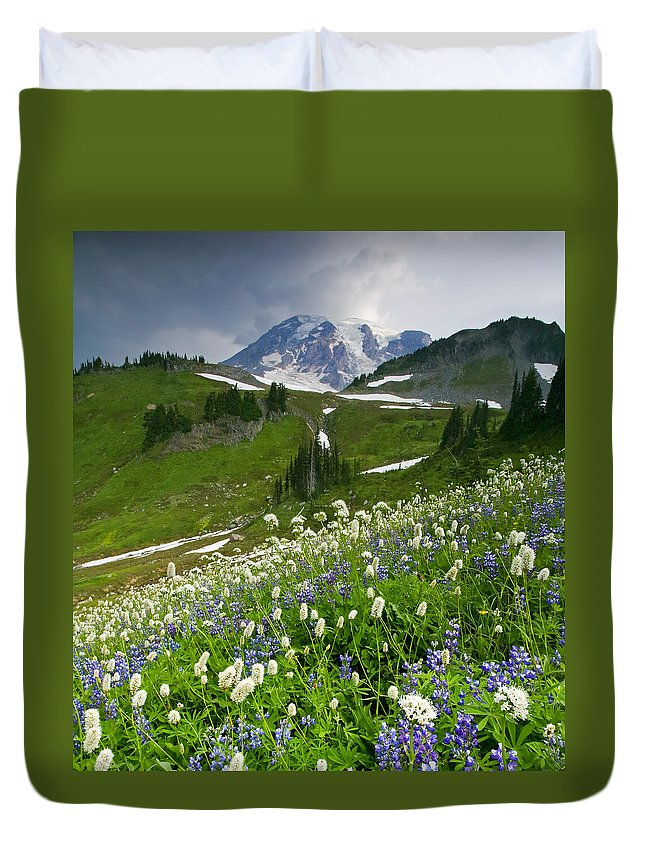 Rainier Duvet Cover featuring the photograph Lupine Storm by Mike Dawson