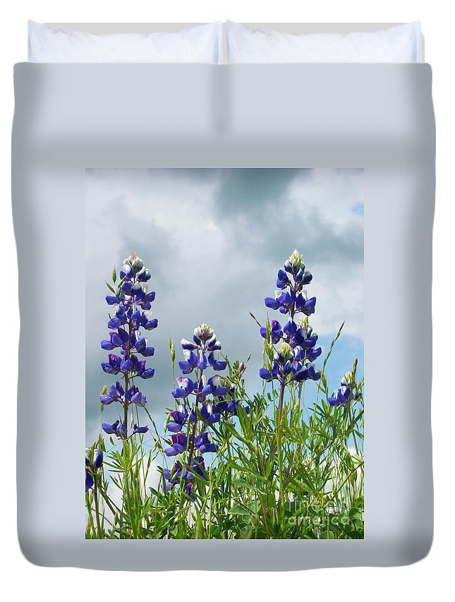 Lupine Duvet Cover featuring the photograph Lupines Against The Sky by Jim And Emily Bush