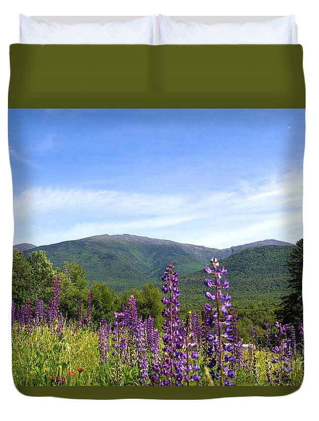 Flower Duvet Cover featuring the photograph Lupines And The Presidentials by Lloyd Alexander