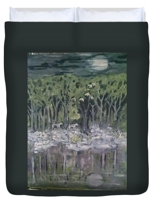Nature Duvet Cover featuring the painting Lupus Luna by Dennis Cantrell