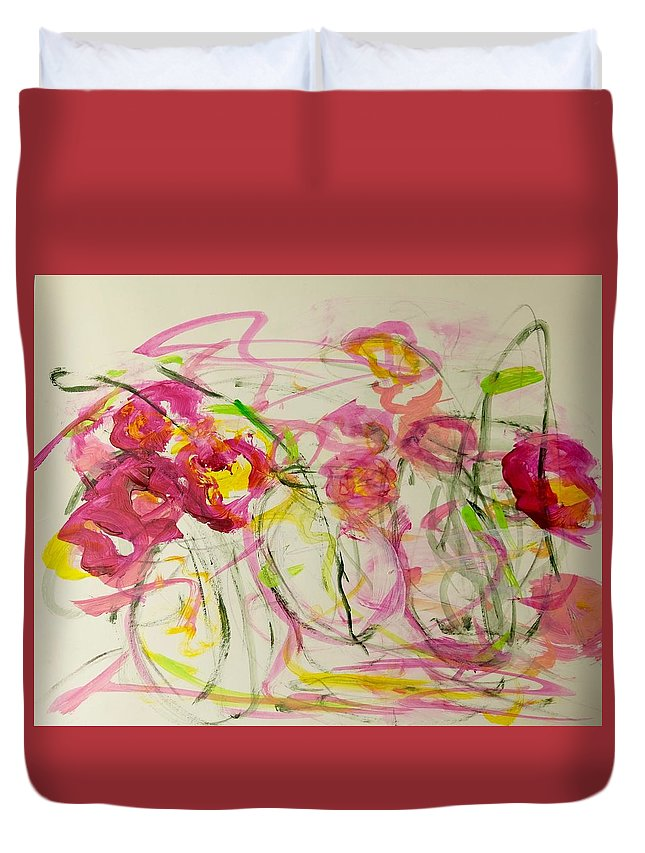 Flowers Duvet Cover featuring the painting Lush Flowers by Barbara Rose Brooker