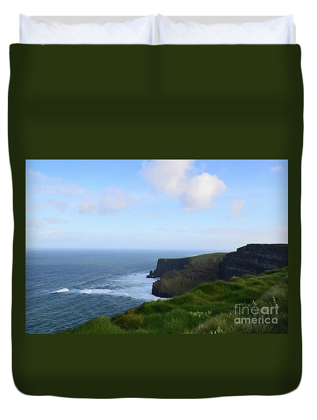 Cliffs-of-moher Duvet Cover featuring the photograph Lush Green Grass Along The Top Of The Cliffs Of Moher by DejaVu Designs