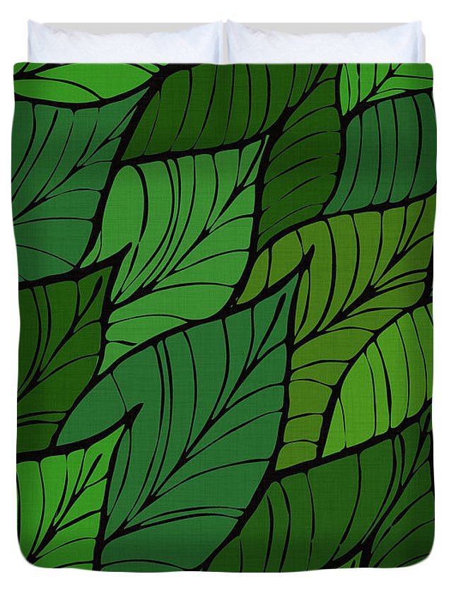 Tropical Duvet Cover featuring the drawing Lush by Kristian Gallagher